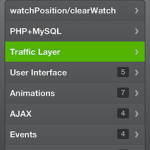 Googel Maps API + Traffic Layer(交通渋滞情報レイヤー) +ON/OFFボタン /JQtouch